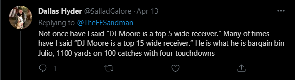 The best assessment and metaphor for D.J. Moore is how @SalladGalore said here
