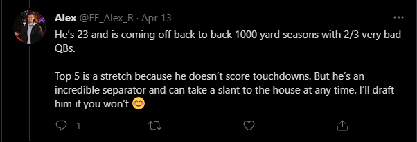 @FlowDynastyFF and @FF_Alex_R get right to the point; touchdowns. Touchdowns are currently holding Moore back from actualizing his potential.